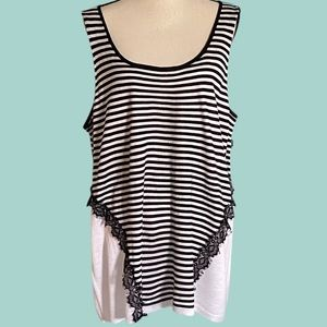 DEMOCRACY black and white striped and lacy tank.